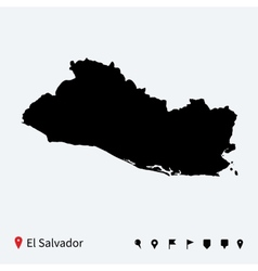 High detailed map of El Salvador with navigation vector image vector image
