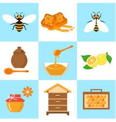 Honey beekeeping flat icons set vector