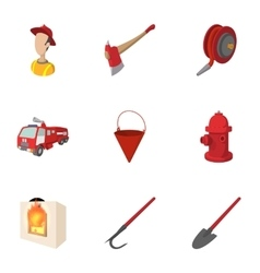 Protection from fire icons set cartoon style vector