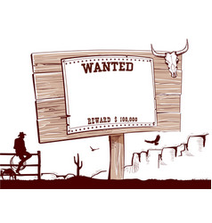 wanted paper on wood board for text vector image vector image