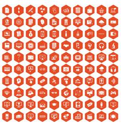100 website icons hexagon orange vector image