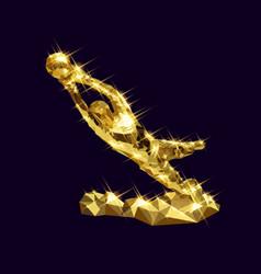 3d golden goalkeeper statue vector