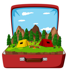 A campsite in the vintage bag vector