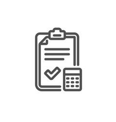 accounting checklist line icon calculator sign vector image