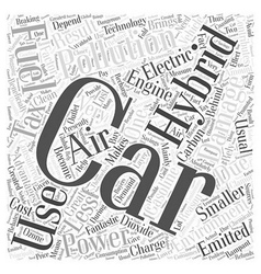 Advantages of hybrid car Word Cloud Concept vector