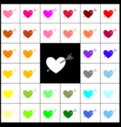 arrow heart sign felt-pen 33 colorful vector image