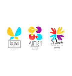 Autism and down syndrome bright logo templates set vector