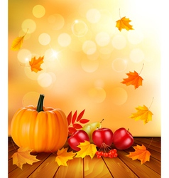 Autumn background with fresh fruit and leaves vector