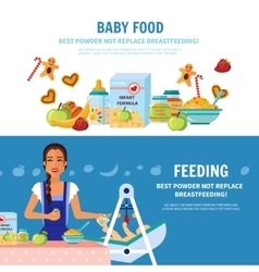 Baby Food 2 Flat Banners vector