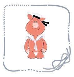 Background for postcard piglet sailor vector