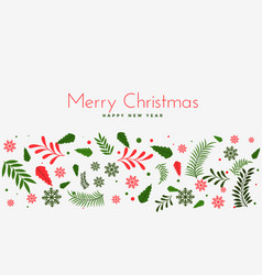 Beautiful christmas leaves decoration background vector