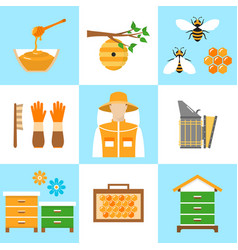 beekeeping honey flat icons set vector image