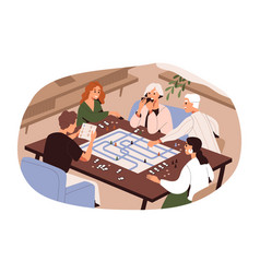 Big family different generations playing board vector