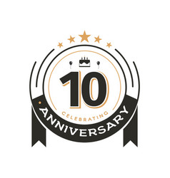 birtday vintage logo template to 10 th anniversary vector image