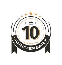 birthday vintage logo template to 10 th anniversar vector image