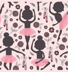 black and pink seamless pattern with ballerina vector image