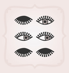 Black bstract feminine eyes set with no faces vector