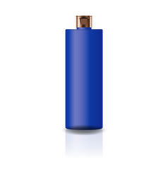 blank blue cosmetic cylinder bottle with cap lid vector image