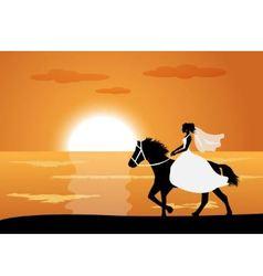 Bride rides a horse vector image