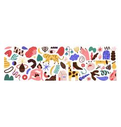 bundle abstract trendy doodle art set vector image