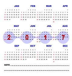 Business note template of 2017 calendar vector