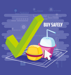 Buy safely online with fast food vector