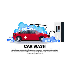 Car wash station banner with service cleaning vector