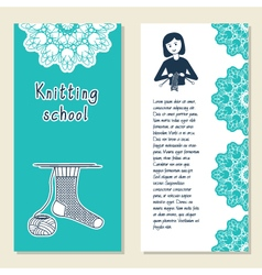 Cards template for knitting school knit vector