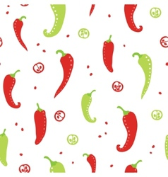 Chili peppers red and green seamless pattern vector image