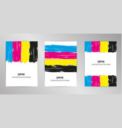 cmyk brush cover design background set a4 format vector image