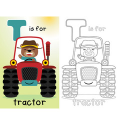 Coloring book or page with funny farmer on red vector