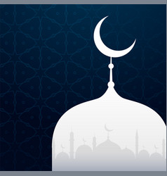 Creative islamic design with mosque silhouette vector