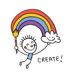 creative kid painter vector image