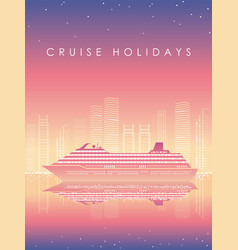 Cruise liner and cityscape at dusk with text space vector