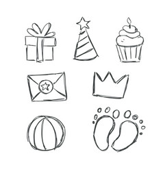 cute doodles for baby shower vector image