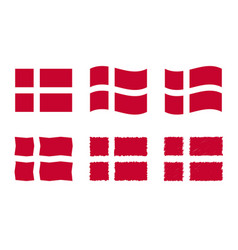 denmark flag set official vector image
