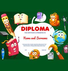 Education diploma apple shape school characters vector