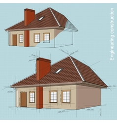 Engineering construction of buildings drawings vector image