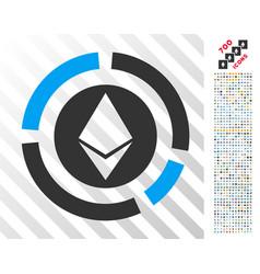 Ethereum diagram flat icon with bonus vector