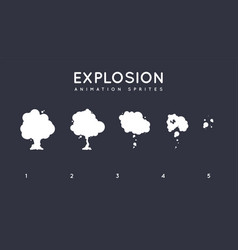 explosion storyboard sprite set for animation set vector image