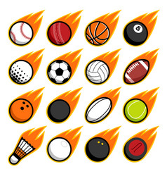 Fire flying play sport balls logo icon isolated vector