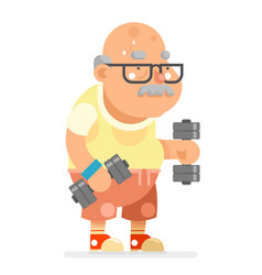 fitness dumbbells exercises grandfather adult vector image