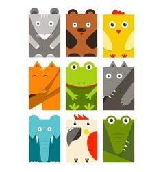 Flat Childish Rectangular Animals Set vector image vector image