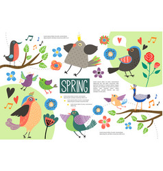 flat hello spring infographic concept vector image