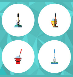 Flat icon mop set of mop bucket cleaning and vector