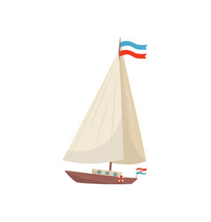flat icon of sailing yacht with flag of vector image
