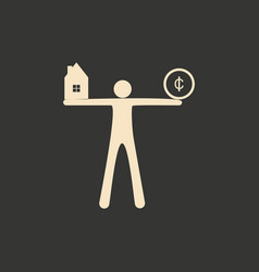 flat in black white man with coin and house vector image
