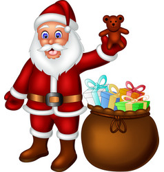 Funny santa in red suit with gifts cartoon vector