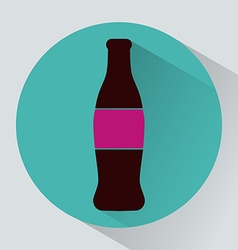 Glass bottle of soda colorful round icon vector