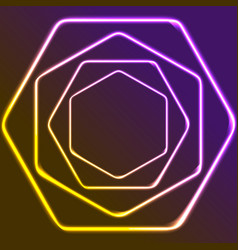 glowing yellow and purple neon hexagons shiny vector image